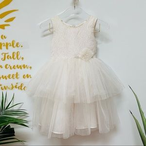 Ivory & Gold Tulle Sleeveless Formal Dress in 6X
